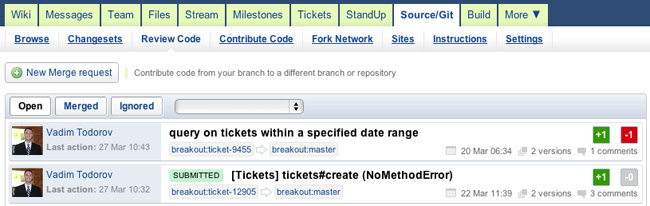 merge request list