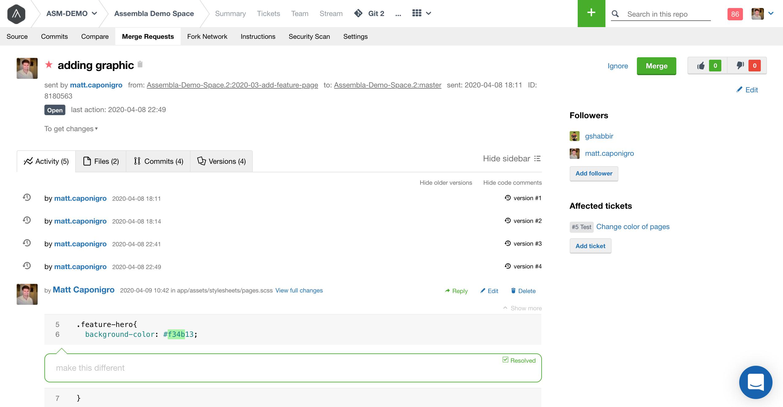New Assembla Merge Request UI